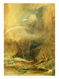 Devil's Bridge, St. Gotthard's Pass, C.1804 (W/C and White Wax Crayon on Wove Paper) Premium Giclée-tryk af J. M. W. Turner
