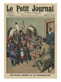 The Redskins and the Phonograph, Front Cover Illustration from 'Le Petit Journal' Giclee Print by  French