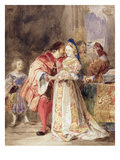 Portia and Bassanio, C.1826 (W/C, Brown Ink, Bodycolour and Graphite on Paper) Giclee Print by Richard Parkes Bonington