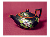Black Basalt Wedgwood Teapot, Enamelled with Flowers, C.1840-50 (Stoneware) Giclee Print by  English
