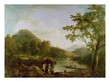 Dinas Bran from Llangollen, 1770-71 (Oil on Canvas) Reproduction procédé giclée par Richard Wilson