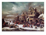 Winter Landscape (Oil on Canvas) Giclée-Druck von Rutger Verburgh