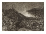 The Lonely Tower, 1879 (Etching) Giclee Print by Samuel Palmer