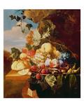 Stillleben mit Obst und Blumen Giclée-Druck von Arie de Vois
