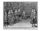 The Music Room at Versailles, 1696 (Engraving) Giclee Print by Antoine Trouvain