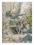 Sketch of Robin Hood, 1852 (W/C over Graphite on Paper) Premium Giclee Print by Richard Dadd