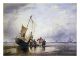 Hog Boat on the Sands, Brighton (Oil on Canvas) Giclee Print by Edward William Cooke