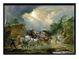 Coach in a Thunderstorm, 1790S (Oil on Millboard) Giclee Print by Philip James Loutherbourg