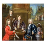 Elihu Yale (1648-1721) the Second Duke of Devonshire, Lord James Cavendish, Mr Tunstal and a Page Giclee Print by  English