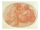 Study of the Holy Family (Red Chalk on Paper) Giclee Print by  Michelangelo Buonarroti