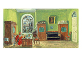 Stage Design for the Theatre Play 'Pushkin's Death' by M. Saltykow-Schtschedrin, 1914 Giclee Print by Boris Mikhailovich Kustodiev