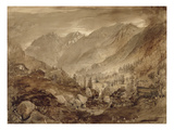 Mountain Landscape, Macugnaga, 1845 (Pen and Brown Ink and Wash over Pencil on Paper) Giclee Print by John Ruskin