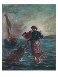Christ Walking on Water and Reaching Out His Hand to Save Saint Peter Giclee Print by Eugene Delacroix