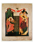 Icon Depicting the Annunciation, Novgorod School (Oil on Panel) Giclee Print by  Russian