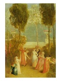 The Garden, C.1820 (Oil on Panel) Giclee Print by Thomas Stothard