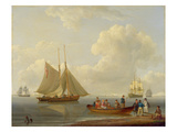 A Wherry Taking Passengers Out to Two Anchored Packets, 1825 (Oil on Panel) Giclee Print by William Anderson