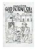 An Inca Asks a Spaniard What He Eats, He Replies 'Gold' (Woodcut) Premium Giclee Print by Felipe Huaman Poma De Ayala