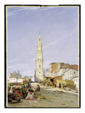 Torre Dos Clerigos, Oporto, Portugal, 1837 (Oil on Canvas) Giclee Print by James Holland
