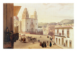 Plaza Mayor De Guonajuato (Coloured Engraving) Giclee Print by Carlos Nebel