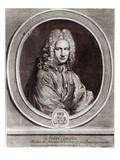 Portrait of Andre Campra (1660-1744) (Engraving) Giclee Print by Nicolas Etienne Edelinck