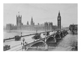 Westminster Bridge and the Houses of Parliament, C.1902 (B/W Photo) Giclee Print by  English Photographer