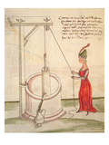 Woman Drawing Water from a Well, Illustration from 'De Machinis' (Pen and Ink and W/C on Paper) Giclee Print by  Mariano di Jacopo