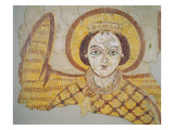 Crowned Archangel with Spread Wings, from the Cathedral of Faras, Sudan (Fresco) Giclee Print by  Coptic