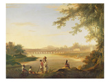 The Marmalong Bridge, with a Sepoy and Natives in the Foreground, C.1783 (Oil on Canvas) Giclee Print by William Hodges