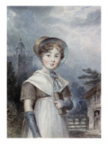 Little Girl in a Quaker Costume, Holding a Bible Giclee Print by Isaac Pocock