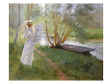 A Walk by the River, 1890 (Oil on Canvas) Gicle-tryk af Pierre Andre Brouillet