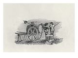 Two Men with a Barrel Cart (Wood Engraving) Giclee Print by Thomas Bewick