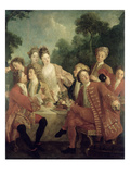 The Ham Lunch (Oil on Canvas) Giclee Print by Nicolas Lancret