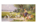 Mother and Child with Geese Giclee Print by Adolf Ernst Meissner