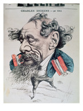 Charles Dickens Astride the English Channel, Cover Illustration from 'L'Eclipse', 14th June 1868 Premium Giclee Print by André Gill