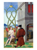 Dialogue Between the Alchemist and Nature, 1516 (Vellum) Giclee Print by Jean Perreal