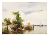 Barges on a River, C.1825-26 (Oil on Millboard) (Signed) Giclee Print by Richard Parkes Bonington