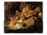 Puck and Fairies, from 'A Midsummer Night's Dream', C.1850 (Oil on Millboard) Impressão giclée por Sir Joseph Noel Paton