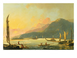 Tahitian War Galleys in Matavai Bay, Tahiti, 1766 (Oil on Canvas) Giclee Print by William Hodges