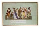 Fol.5 Incroyables and Merveilleuses on the Boulevard Des Italiens (Gouache on Paper) Giclee Print by  Lesueur Brothers