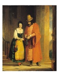 Shylock and Jessica from &#39;The Merchant of Venice&#39;, Act Ii, Scene Ii, 1830 (Oil on Canvas) Reproduction proc&#233;d&#233; gicl&#233;e par Gilbert Stuart Newton