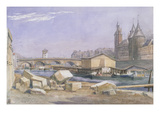 The Pont Au Change and the Conciergerie, Paris, 1837 (W/C on Paper) Giclee Print by Richard Redgrave