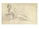Study of a Female Nude (Pencil and Chalk on Paper) Giclee Print by William Hogarth