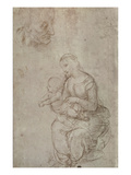 Madonna and Child and Head of an Old Man (Metal Point on Prepared Pale Pink Paper) Reproduction procédé giclée par  Raphael