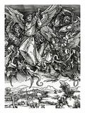 St. Michael Fighting the Dragon, 1498 (Woodcut) Reproduction procédé giclée par Albrecht Dürer