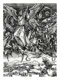 St. Michael Fighting the Dragon, 1498 (Woodcut) Giclee Print by Albrecht Dürer
