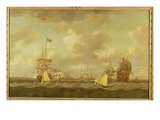 English Ships Coming to Anchor in a Fresh Breeze Giclee Print by Dominic Serres