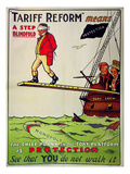Tariff Reform Means a Step Blindfold&#39;, Poster Defending Free Trade Against Attack Giclee Print
