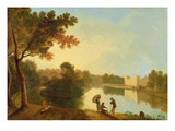 Wilton House from the South-East, C.1758-60 (Oil on Canvas) Reproduction procédé giclée par Richard Wilson