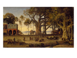 Moonlit Scene of Indian Figures and Elephants Among Banyan Trees, Upper India (Probably Lucknow) Giclee Print by Johann Zoffany