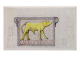 Design for Bas Relief of the 'Calf in the Cave of the Golden Calf' (W/C and Graphite on Paper) Giclee Print by Eric Gill